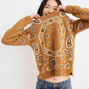 Madewell Bandana Paisley Print Pullover Sweater